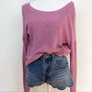 Banana Republic Pink Space-Dye Preppy Crop Sweater